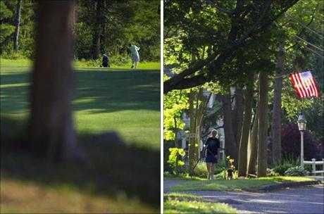A golfer enjoys a round of golf at Reedy Meadow Golf Course; Shelley Lynch of Lynnfield walks her dogs Beary and Bambi along Summer Street.