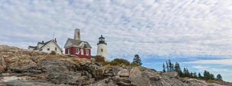 The lighthouse at Pemaquid Point in Bristol, Maine.