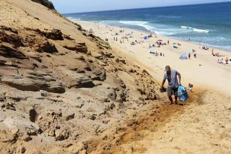 Steep ascent from White Crest Beach along Cape Cod National Seashore.