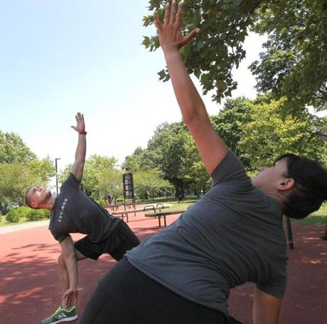 Mark Safer and Simran Ahluwalia demonstrated outdoor exercises.