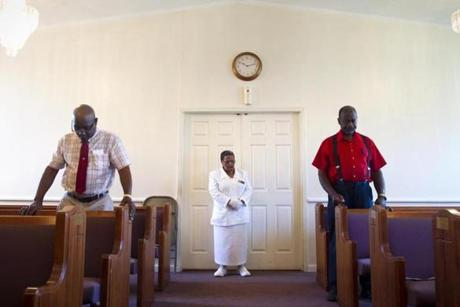 Worshipers at a recent service of the West Camp Missionary Baptist Church in Batesville, Miss.