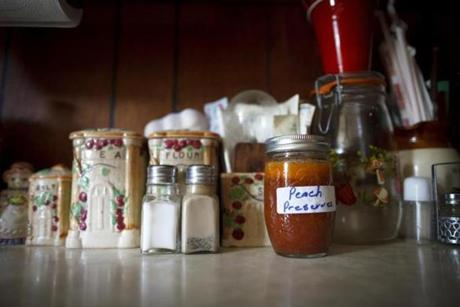 8/10/14 - Batesville, MS - Homemade peach preserves grown and canned by the Watters family. Topic: 31freedom. Story by Eric Moskowitz/Globe Staff. Dina Rudick/Globe Staff
