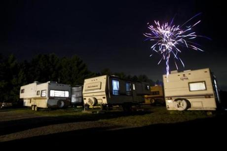 A sporadic burst of fireworks erupted from the skydiver trailer park on Saturday night at Jumptown.