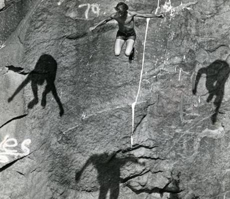 June 20 1978 / fromthearchive / Globe Staff photo by David L. Ryan / Free falling at the Quincy quarries, this youth was followed by the shadows of three other jumpers on the granite surface.