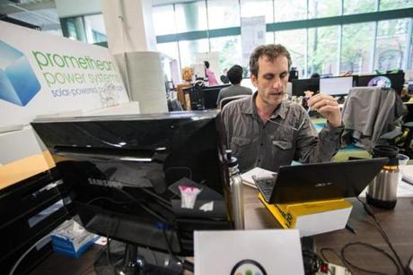 08/22/2014 SOMERVILLE, MA Co-founder of Promethean Power Systems (cq) Sam White (cq) works at Greentown Labs (cq) in Somerville. (Aram Boghosian for The Boston Globe)
