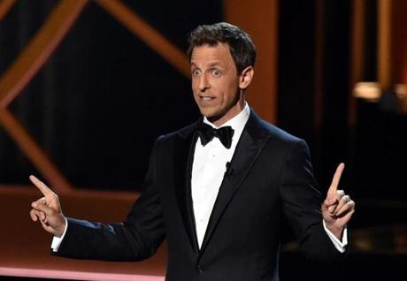 Host Seth Meyers made jokes to start the show.