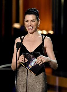 Julianna Margulies spoke onstage before winning an Emmy of her own.