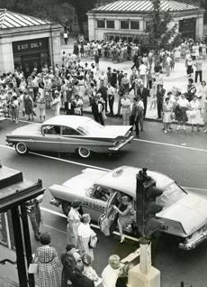 August 22 1960 / fromthearchive / Globe Staff photo by Philip N. Preston / The M.T.A. estimated 250,000 people were affected by the walkout of 4000 carmen at the beginning of rush hour. The sudden and unannounced strike over stalled contract negotiations left thousands stranded in Boston. The traffic jam in downtown Boston was the worst in the city's history as outgoing and incoming cars converged. Packed sidewalks added to the tie-up. The one-day's strike was estimated to cost over $6 million dollars to Boston merchants.