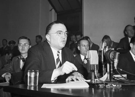 "FBI Director J. Edgar Hoover calls the US Communist Party a ""Fifth Column"" whose ""goal is the overthrow of our government"" during testimony in March 1947 before the House Un-American Activities Committee in Washington."