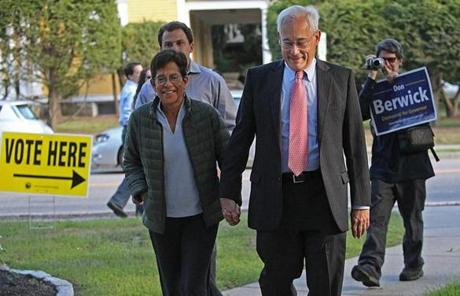 The gubernatorial hopeful was accompanied by his wife, Ann.