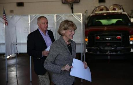 Democratic gubernatorial hopeful Martha Coakley voted in Medford with her husband, Tom O'Connor.