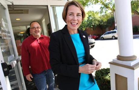 Attorney general candidate Maura Healey walked out of the Zelma Lacey House after voting in Charlestown.