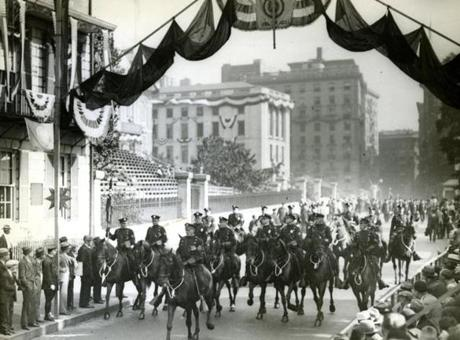 October 8 1930 / fromthearchive / Boston Globe Archive photo / The Boston Mounted Police marched in Boston's biggest parade ever as fifty thousand survivors of World War I marched as members of honor of the American Legion. The parade started at 10:20 a.m. and didn't end until 7:55 p.m. and the srteets remained full the entire time.