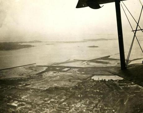 August 9 1925 / fromthearchive / Boston Globe Archive photo / A view of Boston Harbor from the giant Sikorsky all-metal plane