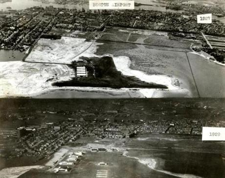 December 15 1929 / fromthearchive / Boston Globe Archive photo / An aerial view of the Boston Airport showing the development from 1927 to 1929. In 1929 the City of Boston took control of the airport with a 20-year lease from the state. Buildings were added, runways were lengthened, and access roads were paved and landscaped. Two hundred acres of land were reclaimed from Boston Harbor.