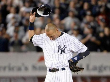 Jeter acknowledged the fans chanting his name in the 8th inning. Robert Deutsch-USA TODAY Sports