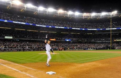 Jeter saluted the crowd after his walk-off single in the ninth inning. Robert Deutsch-USA TODAY Sports