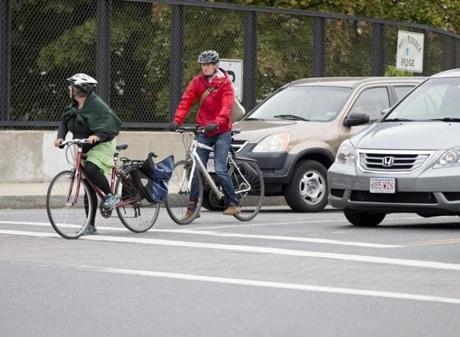 Bicycle collisions overall occurred in greater numbers north and west of Boston.