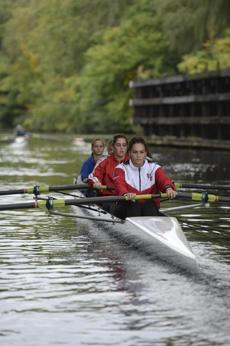 Somerville, MA 100214 Members of the Gentle Giant rowing team practice on the Mystic River on October 2, 2014. The club, which is based out of the Blessing of the Bay boathouse in Somerville. On the foreground is Rachel Oppedisano (Cq), 16. (Essdras M Suarez/ Globe Staff)/ G