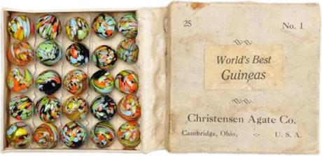 A box of 25 Guinea marbles from the Christensen Agate Co., circa 1927-1929, $14,000.