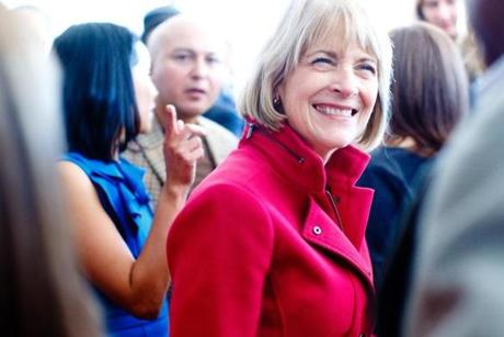 11:15 am - 10/25/14 - Boston, MA - PHOTO ESSAY - State Attorney General and Democratic candidate for Governor Martha Coakley and Massachusetts Governor Deval Patrick attended a house party political event on Saturday October 25, 2014. One day on the campaign trail with Democratic candidate for Massachusetts Governor, State Attorney General Martha Coakley. Item: photo essays. Dina Rudick/Globe Staff.
