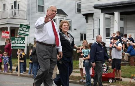 Menino and his wife, Angela Menino, walked in the Roslindale Day Paraded Oct. 4, 2009.