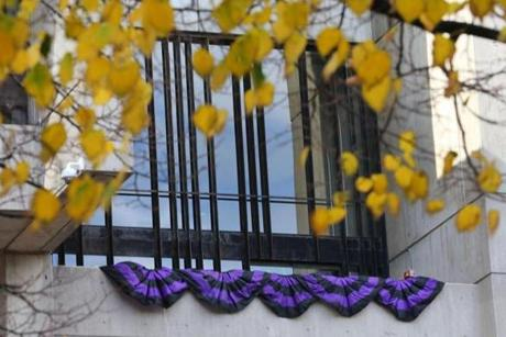 Boston10/31/2014-Bunting lines the balcony of the Mayor's office at City Hall, a day after the death of the former Boston mayor Thomas Menino. Boston Globe staff photo by John Tlumacki(metro)