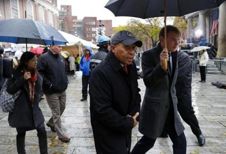 Governor Deval Patrick left after paying his respects.