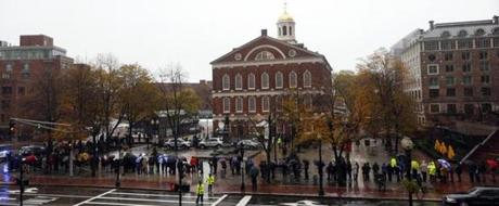 A line of people wraps around Faneuil Hall as former  Mayor Thomas Menino lies in state inside.
