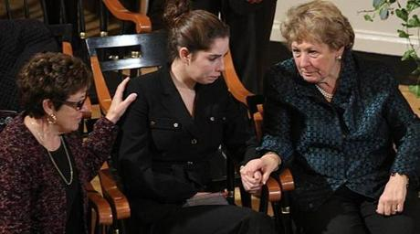 Menino Granddaughter Giulia Fenton is consoled by her grandmother Angela Menino (right) and Angela's sister Frannie Sullivan.