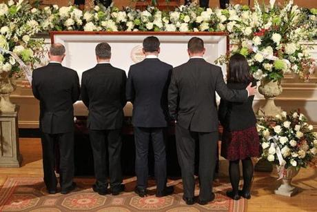 Former and present Boston City Councilors pay their respects (left to right) Bill Linehan, Sal LaMattina, Mike Ross, Tim McCarthy, Michelle Wu.