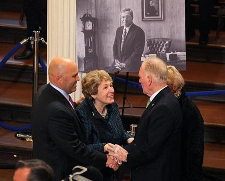 Angela Menino, and her son, Thomas, were greeted by former Boston mayor Ray Flynn.