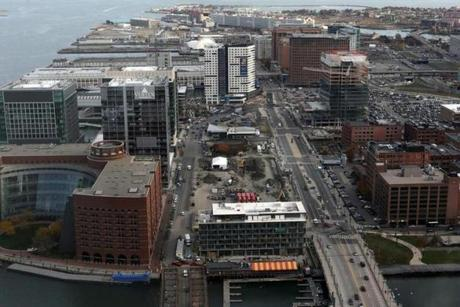 A view of Seaport Boulevard from One International Place.