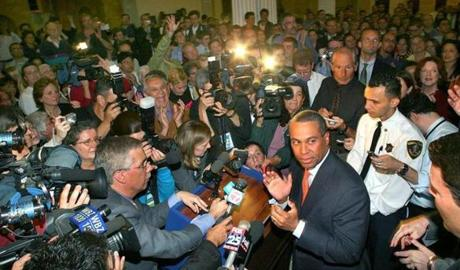 Governor Deval Patrick applauded after the results of the gay marriage votes were announced in 2007.
