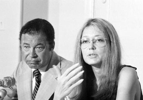 Former Senator Edward Brooke and Gloria Steinem speak at a press conference in Washington, July 24, 1979. They announced the formation of a new group, Voters for Choice, which Brooke said would stress the alternatives on abortion issues. (AP Photo/Ira Schwarz) 16fetalrights