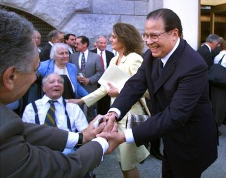 --FROM PICTUREDESK--- Boston - 6/20/2000 Former US. Senator Edward Brooke from Mass. with his wife Anne, at the dedication of the courthouse on New Chardon Street in his honor, shake hands with well wishers at the dedication.. library tag 06212000 metro
