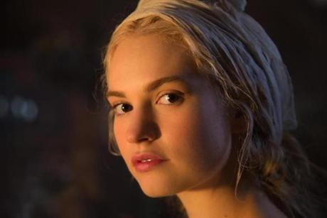 Lily James stars as Cinderella.