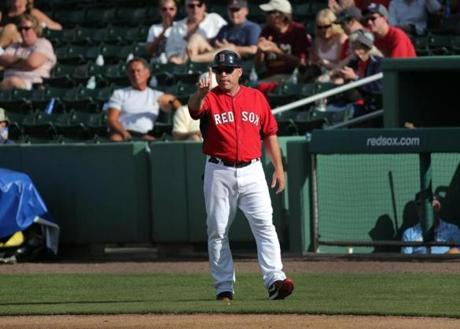 Fort Myers, FL - 03/03/15 - Boston Red Sox First Base Coach Arnie Beyeler. Red Sox Spring Training Game 1 vs. Northeastern University at Jet Blue Park. (Barry Chin/Globe Staff), Section: Sports, Reporter: Peter Abraham, Topic: 04Red Sox, LOID: 8.0.2826364469.