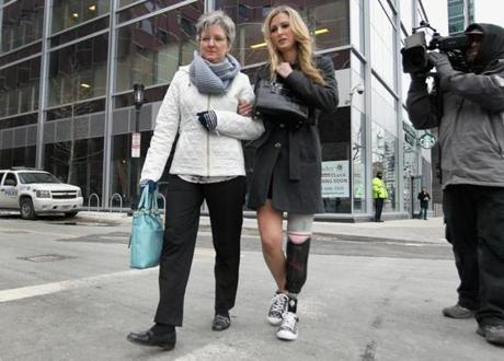 Boston Marathon bombing victim Rebekah Gregory arrived at the courthouse THursday morning.