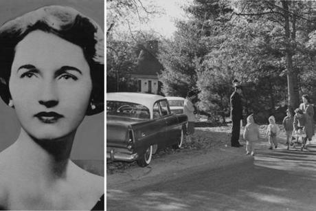 Neighbors (right) walked by the home where Joan Risch vanished in Lincoln, Mass., in 1961.