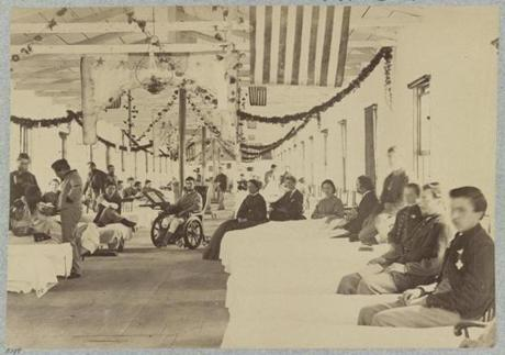 Wounded Civil War Union soldiers at a Washington, D.C., hospital in September 1864.