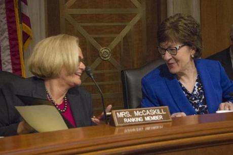 Senator Susan Collins spoke with Senator Claire McCaskill (D-Mo.) prior to a committee meeting on April 15.