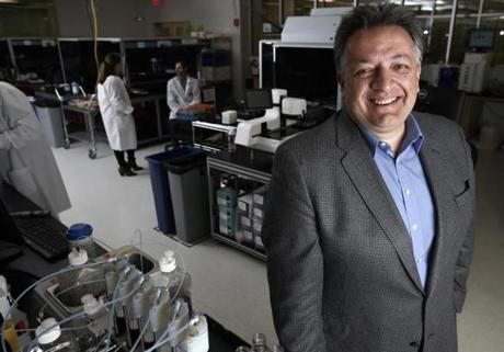 Cambridge, MA - 04/28/15 - Noubar Afeyan of Flagship Ventures in a lab at Moderna Therapeutics, a company founded in VentureLabs, Flagship's company creation unit, and funded by Flagship Ventures. Lane Turner/Globe Staff Section: MAG Reporter: altoff Slug: 10gamechangers-flagship