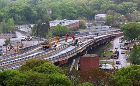 Boston, MA--5/19/2015--The Casey Overpass undergoes its second day of demolition, on Tuesday, May 19, 2015. Photo byTopic: CaseyOverpass Reporter: XXX