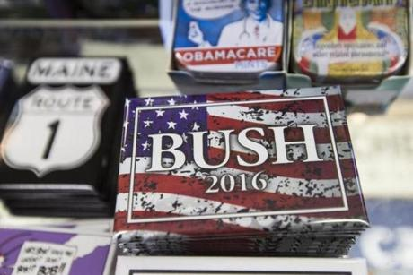 Magnets for a possible presidential campaign for Jeb Bush were on display in a souvenir shop in Kennebunkport, Maine.