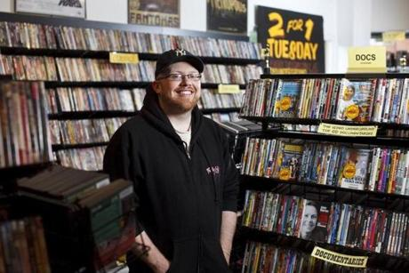 6/9/2015 - Jamaica Plain, MA - The Video Underground in Jamaica Plain, MA, owned by Kevin Koppes, cq; might be the last full-service video rental store in Boston. Story by Hiawatha Bray/Globe Staff. Topic: shopvideo. Dina Rudick/Globe Staff.