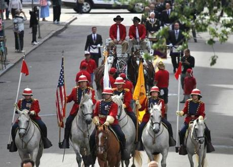 June, 17, 2015 -BOSTON, MA- Horse led procession of 1300 Masons for ceremony as the time capsule is returned to cornerstone during ceremony at the Statehouse steps. (Boston Globe staff photo: Joanne Rathe topic: 18timecapsule reporter: josh miller section: metro)