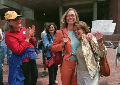 Janet Deegan (left) and Constance Cervone displayed their newly granted marriage license.