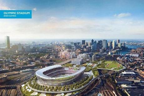 An image released as part of a revised Olympics bid shows the envisioned site for a stadium at Widett Circle.