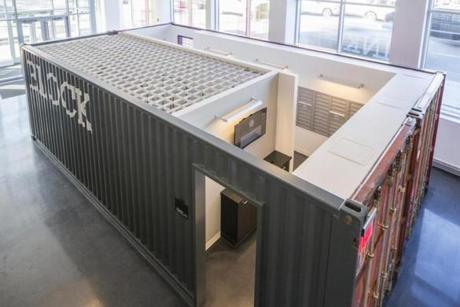 A repurposed shipping container was put into service as a mailroom at Ink Block apartments in the South End.